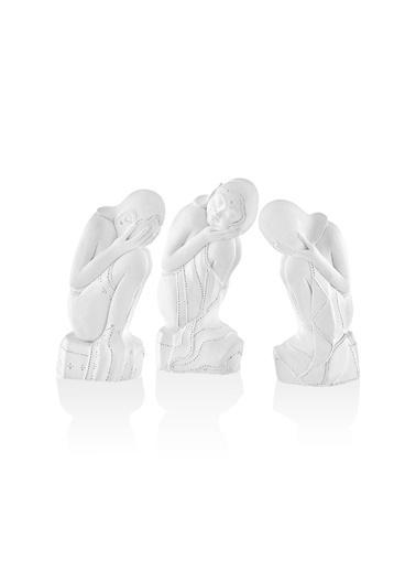 The Mia Antik Biblo Figürleri - 3 Lü Set Beyaz